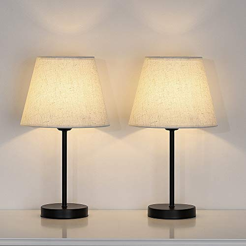 Table Lamp Set of 2, Small Bedside Lamp, Nightstand Lamp with Linen Shade for Desk, Dresser, Bedroom, Living Room, Coffee Table, College Dorm