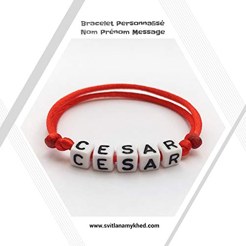 Namensarmband CESAR (reversibel, anpassbar) Mann, Frau, Kind, Baby, Neugeborenes.