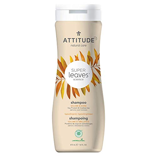 ATTITUDE Super Leaves, Hypoallergenic Volume Rich Shampoo, Soy Protein & Cranberries, 16 Fluid Ounce (11008)