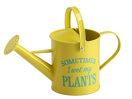 Laila and Lainey Small Indoor Watering Can – Housewarming Gardening Gift for Women – Decor: Wet My Plants Quote – 1.6 L – Great for Your Best Friend – Yellow Galvanized Metal