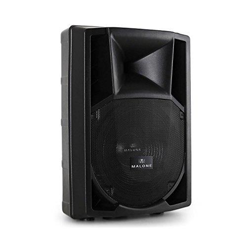 Malone PP-2212A - aktive PA Box, 2-Wege-Lautsprecherbox, PA-Lautsprecher, 1100 W max, 30 cm (12'')-Subwoofer, Frequenzbereich: 50 Hz - 18 kHz, Standardflansch zum Stativ-Aufbau, schwarz