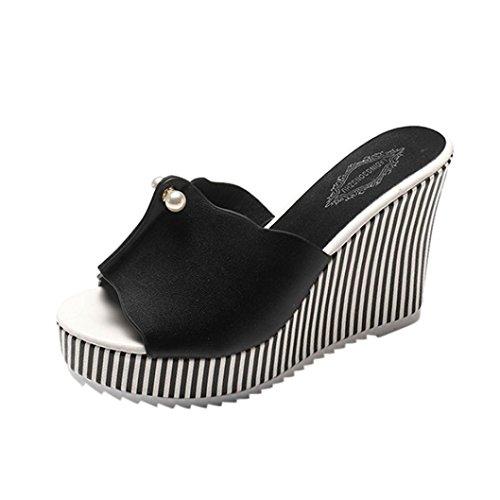 Ansenesna Damen Sandalen Leder Keilabsatz Plateau Wedge Peep Toe Sommerschuhe Mädchen Dicke Sohle Offen Elegant Schuhe Schwarz Weiß (38, Schwarz)