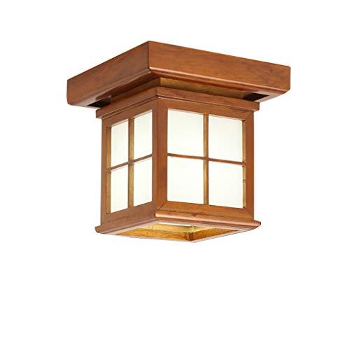 ZR E27 Lámpara de Techo de Madera Maciza marrón, Moderno Estilo japonés, Pasillo Decorativo balcón Sala de Estar Comedor multifunción iluminación