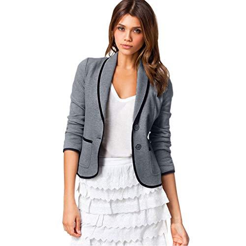 VECDY Damen Jacken,Räumungsverkauf- FrauBusiness Mantel Blazer Anzug Langarmshirts Slim Jacket Outwear Größe S-6XL Lässige warme Jacke (XL, T-Dunkelgrau)