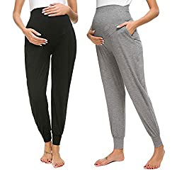 grey and black maternity joggers