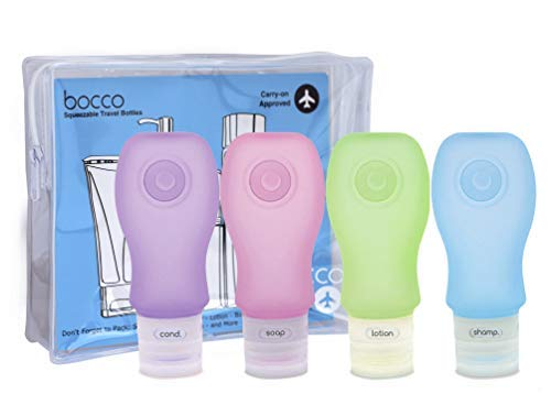 Bocco Leak Proof Squeezable Travel Bottles, TSA Approved Travel Accessories for Carry On Luggage - Perfect for Liquid Toiletries - 4 Pack (All Large 3 oz Bottles) (Purple/Pink/Blue/Green)