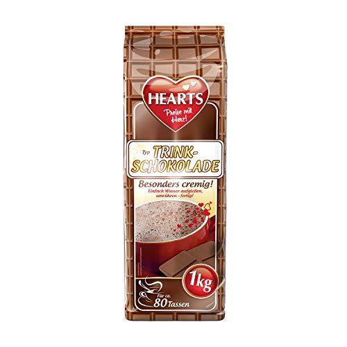 HEARTS Typ Trinkschokolade, 2er Pack, 2 x 1 kg, ca. 80 Portionen pro Beutel, fettreduziert, besonders cremig, Instant Pulver für Trinkschokolade