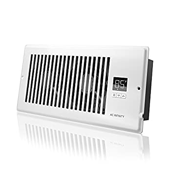 """AC Infinity AIRTAP T4 Quiet Register Booster Fan with Thermostat Control Heating Cooling AC Vent Fits 4"""" x 10"""" Register Holes."""