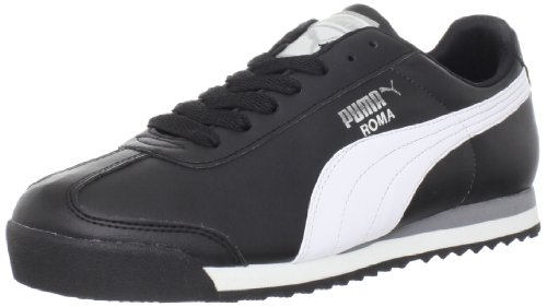 PUMA Men's Roma Basic Fashion Sneaker, Black/White/Silver - 7 D(M) US