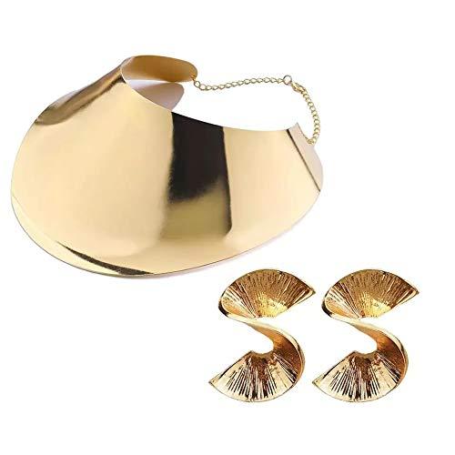 África babero pares gargantillas collares para las mujeres, de Metal Collar SUPER ELEGANTE Conjuntos de joyería métrico, Collar de joyería para mujer GEOMETRIC. (C.M.PENDIENTES ORO)