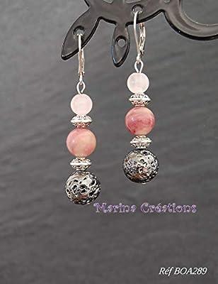 Boucles d'oreille rhodochrosite, pierre de lave et quartz rose, bohême chic, crochets dormeuses acier inox, tons roses, idée cadeau femme