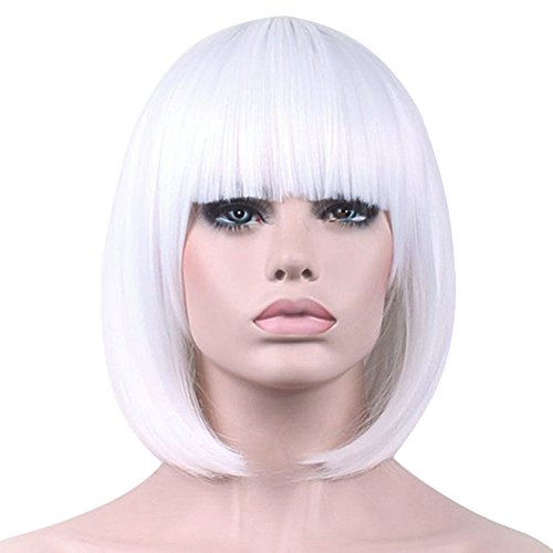Bopocoko Short White Wigs for Women, 12'' White Bob Hair Wig with Bangs, Natural Fashion Synthetic Full Wig, Cute Colored Wigs for Daily Party Cosplay Halloween BU027WH