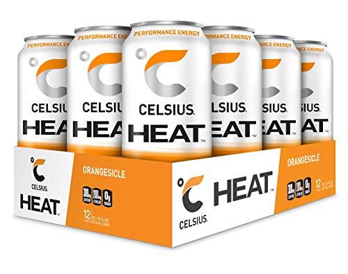 CELSIUS HEAT Orangesicle Performance Energy Drink, ZERO Sugar, 16oz. Can, 12 Pack
