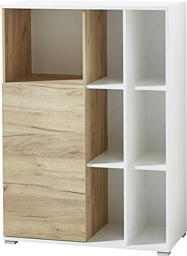 ambiato multifunctionele archiefkast Leon, in wit/Navarra-eiken-Nb, 158x120x40cm (B/H/D)