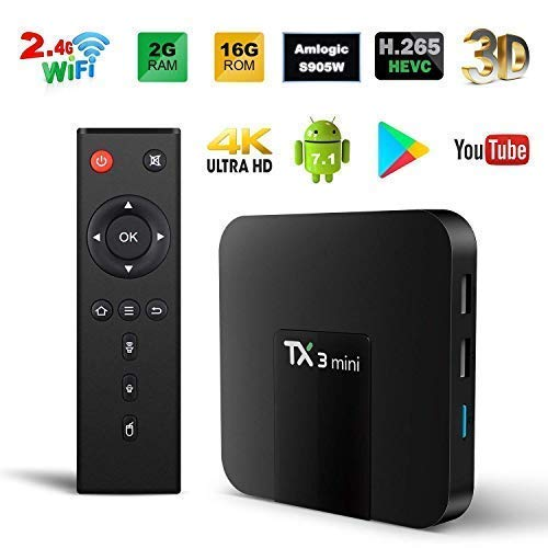 Android TV Box, Original TX3 Mini Android 8.1 TV Box 2GB RAM 16GB ROM Quad Core 64 Bits Support WiFi 100M LAN Smart TV Box 4K 3D HDR IPTV Media Player