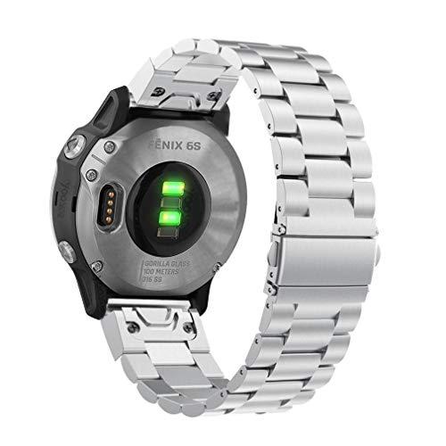 YOOSIDE für Garmin Fenix 5S/Fenix 6S Armband, 20mm Quick Fit Edelstahl Gliederarmband Ersatzarmbänder Uhrenarmband für Garmin Fenix 5S/5S Plus,Fenix 6S Pro/Sapphire,Silber