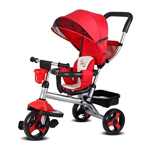 NBgy grote kind opvouwbare kinderwagen Trike, 1-6 jaar oude meisjes jongens 4 in 1 met drukknop handvat driewielers, kinderen zon schaduw rode Trike,90×51×103cm