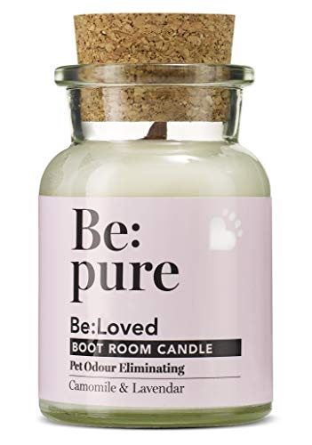 Be:pure Natural Pet Odour Eliminating Candle, 100% Natural Dye-Free Soy Wax, Camomile, Lavender & Rose Scented with a Wooden Wick, Approx. 30hrs Burn Time