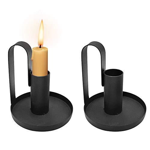 Dylan-EU 2 Stücke Vintage Deko Kerzenhalter mit Henkel Schwarze Rund Basis Kerzenständer Metall Kerzenleuchter für Weihnachts Halloween Hochzeit Wohnzimmer Bankett Dekoration 9.5 x 8.5 cm
