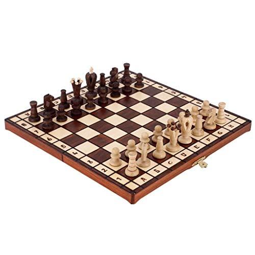 SVUZU Juego de ajedrez Juego de ajedrez de Madera Plegable con Almacenamiento Interno Juego de ajedrez Ajedrez Antiguo Juego de ajedrez de Viaje Pieza de ajedrez de Abedul Ajedrez de Tab