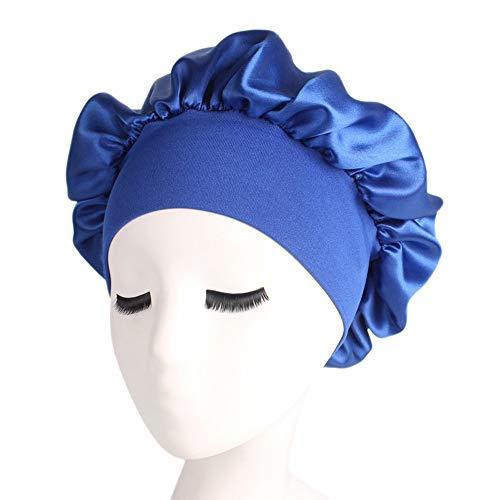 zlw-shop Gorros de Ducha 58 cm Color Largo Cuidado de Cabello Mujeres Satin Bonnet Cap Noche Sombrero Sombrero Seda Head Wrap Ajuste Caps de Ducha Gorro de Baño (Color : Royal Blue)