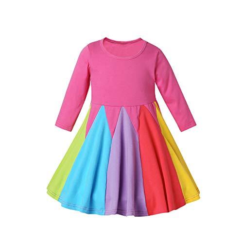 Decdeal meisjesjurk regenboog kleine kinderen baby party bruiloft prinses kostuum van katoen