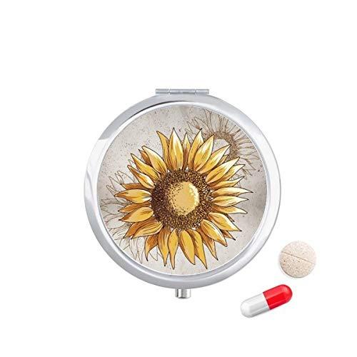 DIYthinker Zonnebloem Zaad Bloem Plant Reizen Pocket Pill Case Medicine Drug Opbergdoos Dispenser Spiegel Gift