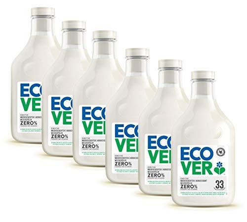 Ecover Suavizante cero | Sin enzímes 0% | Suave para pieles sensibles hipoalergénicas | Adecuado para los bebés | Lote de 6 unidades de 1 l