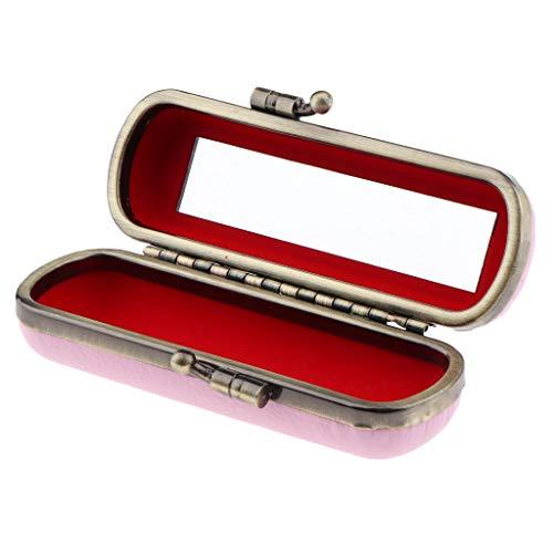 MERIGLARE Boîte De Rangement De Bijoux Compacte De Support De Brillant à Lèvres De Rouge à Lèvres Avec Miroir Et Clip En Métal - Rose