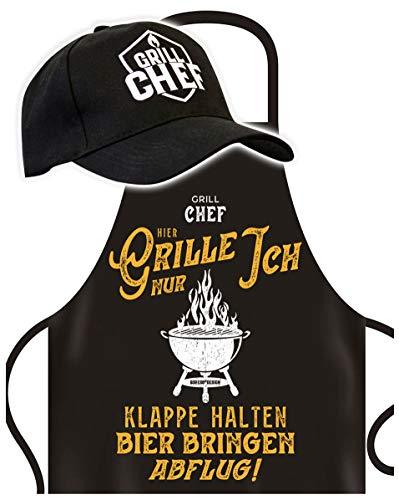 Soreso Delantal de barbacoa para hombres con tapa de barbacoa – Grill Chef Hier Grille Nur Ich Vatertagsgeschenk para el Día del Padre cumpleaños ideas de regalo