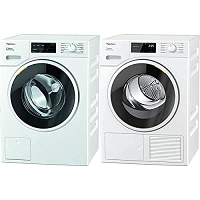 Miele WSG363 Freestanding Washing Machine with Quick Powerwash, 9 kg Load, 1400 rpm Spin, White & Miele TSF643WP Freestanding Heat Pump Tumble Dryer, 8 kg Load, White
