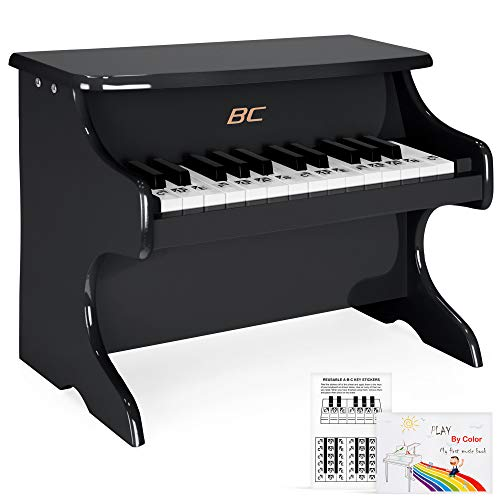 Best Choice Products Kids 25-Keys Wooden Learn-to-Play Mini Piano w/ Key Note Stickers, Music Book - Black