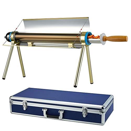 LaSoGi Parrilla solar para camping 3.3 lb de gran capacidad, acero inoxidable sin humo con ahorro de energía estufa horno con estuche...