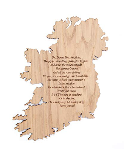 Biddy Murphy Irish Art on Map of Ireland Oak Engraved'Danny Boy' Long-Lasting Artisan Crafted in Ireland