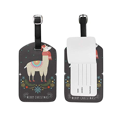 Luggage Tag Llama in Red Scarf and Hat Suitcase Travel Baggage Tag Leather 1 Piece