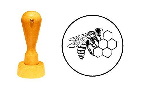 Stempel IMKER honing bij – diameter ca. Ø 25 mm - motiefstempel van beukenhout