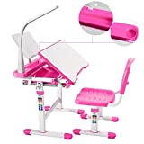 Mecor Kids Desks, Height Adjustable Children Desk and Chair Set,Childs School Student Sturdy Table w/Lamp, Pull Out Drawer Storage,Pencil Case,Bookstand Pink