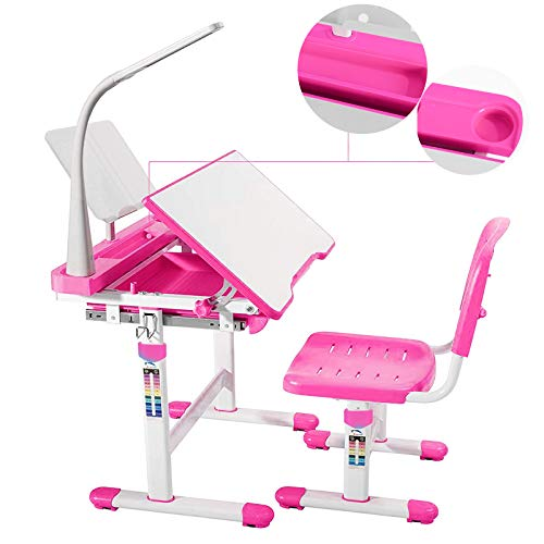 Mecor Kids Desks,Children Desk and Chair Set Height Adjustable,Childs School Student Sturdy Table w/Lamp, Pull Out Drawer Storage,Pencil Case,Bookstand Pink