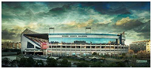 Lámina para enmarcar - Estadio Vicente Calderón - Atlético de Madrid - Fotografía artística y moderna de alta calidad - Impresa sobre papel fotográfico - Hecho a mano en España (60_x_134_cm)