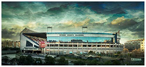Lámina para enmarcar - Estadio Vicente Calderón - Atlético de Madrid - Fotografía artística y moderna de alta calidad - Impresa sobre papel fotográfico - Hecho a mano en España (50_x_110_cm)