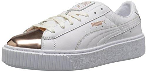 PUMA Damen Basket Platform Metallic Fashion Sneaker, Weiá (Puma White-Rose Gold), 40 EU