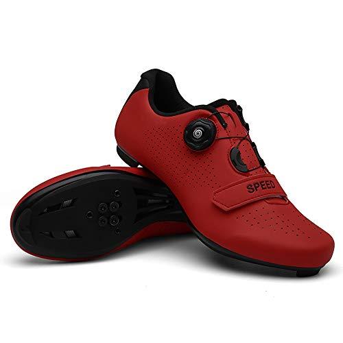 Ouumeis Fahrradschuhe Für Herren Und Damen,Atmungsaktives Nano-Leder,rutschfeste Mountainbike-Sportschuhe Für Erwachsene,Outdoor-Sportprofis Für Herren Und Damen Leichte Rennradschuhe,Rot,46 EU