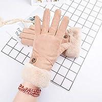 手袋の秋と冬の女性かわいい学生暖かく、ベルベットの厚い耐寒性の5本の指の手袋 (Color : Khaki, Size : F)