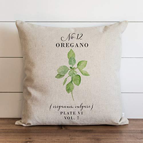 Promini Oregano Pillow Cover Botanical Pillow Cover Floral Herbs Spring Home Decor Summer Throw Pillow Garden Case Cushion Pillowcase for Sofa Bench Bed 22 x 22 Inches