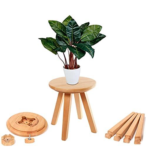 Fanwer Indoor Pflanzenständer, Holz Mid Century Heavy Duty Blumentopfhalter, Kleiner runder Seitentisch, Beistelltisch, Kinderhocker