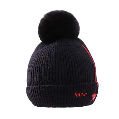 LYTYM Los niños Sombreros de Invierno del niño de Pom Pom Casquillo del Knit Caliente Sombrero con Forro de algodón for los bebés niñas Gorra de Esquiar (Color : Black, Size : 1-4 Years)