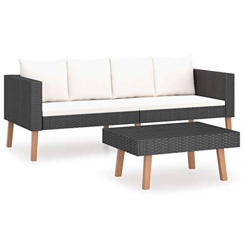 vidaXL Gartenmöbel 2-TLG. mit Auflagen Sitzgruppe Lounge Sofa Garnitur Sitzgarnitur Gartenset Couchtisch Gartensofa Poly Rattan Schwarz