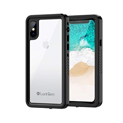 Lanhiem Funda Impermeable iPhone X, Carcasa Sumergible Resistente Al Agua IP68 Certificado [Protección de 360 Grados], Carcasa para iPhone XS con Protector de Pantalla Incorporado,Negro