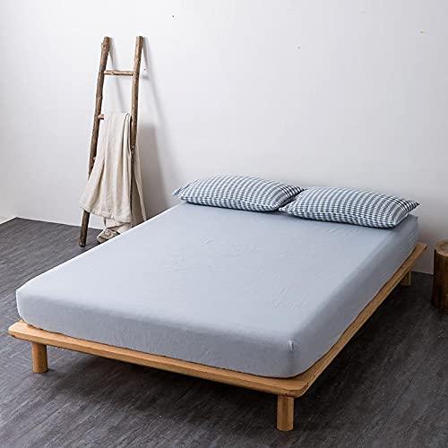 GuLL Sábana bajera ajustable, 100% algodón, para colchón de hasta 30 cm de altura, color azul claro, 150 x 200 cm