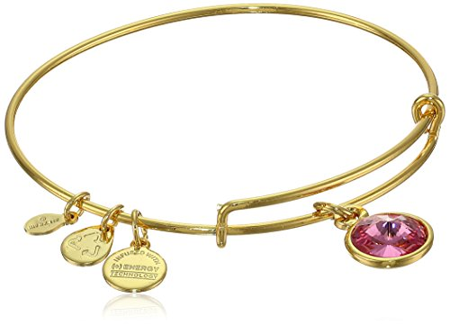 "Alex and Ani ""Bangle Bar"" October Imitation Birthstone Gold-Tone Expandable Bracelet"